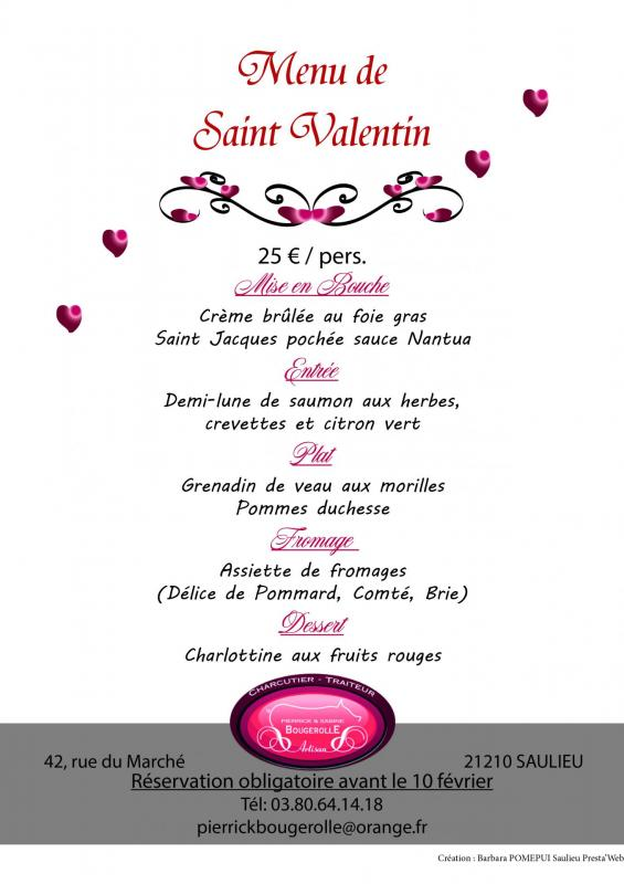 Menu saint valentin